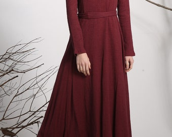 burgundy dress, Maxi dress, linen dress, long dress, Red dress,  women dresses, Custom dress, long sleeve dress,spring dress  (1138)
