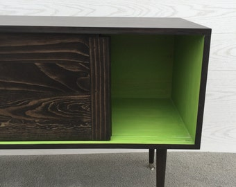 Mid Century Modern Record Player Cabinet Media Table TV Stand Entertainment Console w/Sliding Doors MCM