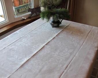 Elegant Unused 1940s Ecru Pure Linen Leno Fancy Weave Tablecloth Roses Beige