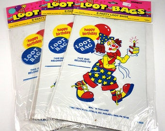 Happy Birthday Clown Plastic Loot Bags, Set of Eight, Gift Bags, Party Supplies