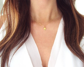 Palm Tree Necklace | Gold Palm Tree Charm Necklace | Island Life Necklace