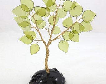 50% OFF SALE! Recycled Bottle Glass Tree, Bonsai Vintage Style Ming Tree, Yellow Leaves