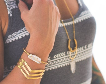 Quartz Wrapped Brass Cuff | B21609