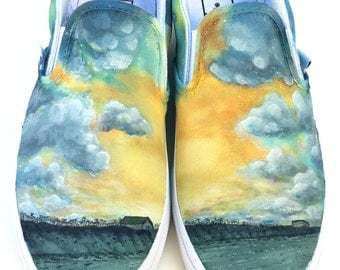 Custom Vans Shoes - Clouds and Scenery Painting