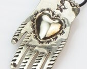 Milagro Heart-in-Hand Sterling Silver Pendant - Necklace - Vintage - Valentine's Gift