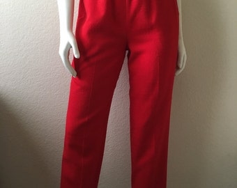 Vintage Women's 80's Red Pants, High Waisted, Tapered by Briggs (S)