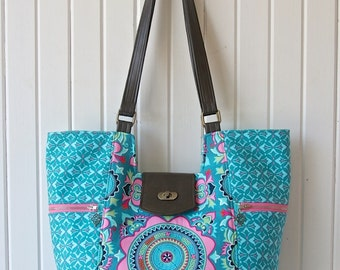 Mimosa Market Tote in Amy Butler Dreamweaver in Teal