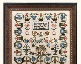 The Wisdom Sampler - Cross Stitch Pattern by THE SAMPLAR WORKES - Blue Flowers