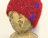 Eyelash head band, neck warmer, collar, scarf, scarflet, red with purple, Free shipping in the US