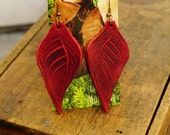 """Earrings 3"""" Red Leather Leaf, Woodsy, Leaves, Autumn, Fall, Unique, Handmade, Lightweight, Soft, Dangle, Woodland"""