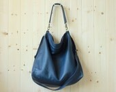 Large shoulder bag, large cross body bag, leather purse, leather duffle bag - ALICE in navy