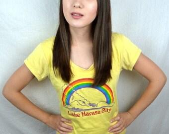 Cute Vintage 70s Rainbow Fitted Tee Tshirt Shirt - Lake Havasu City