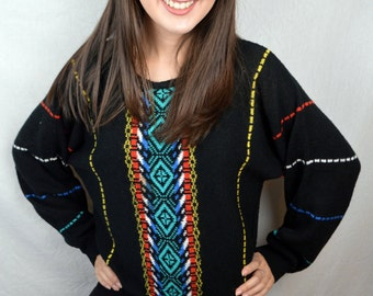 Vintage 80s Rainbow Batwing Knit Sweater