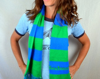 Vintage 80s Seattle Seahawks Superbowl Champions NFL Winter Knit Scarf