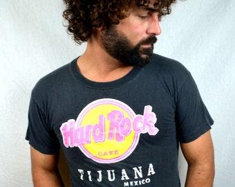 Vintage 80s Hard Rock Cafe NEON Tshirt Tee Shirt - Tijuana Mexico