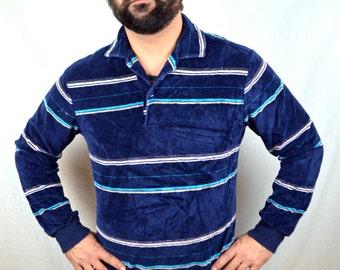 Vintage 70s Striped Velour Shirt Top - DAKS