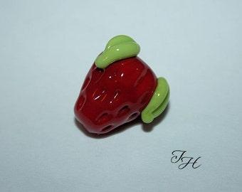 Strawberry single focal bead handmade glass lampwork beads TinaHbeads