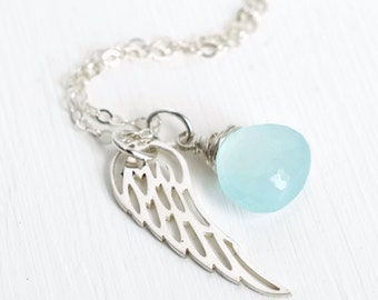 Sterling Silver Angel Wing Necklace / Silver Miscarriage Necklace / March Birthstone / Angel Baby Jewelry / Infant Loss Remembrance