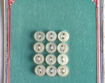 Vintage Ocean Pearl Buttons on Original Card - 12 Mini Mother of Pearl Doll Buttons