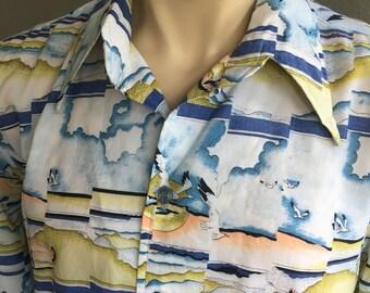 1970s seagulls disco long sleeve men's shirt size XL
