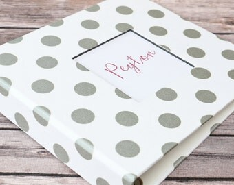 Baby Book, Baby Gift, Baby Album, Baby Memory Book, Baby Keepsake, Modern Baby Book, Silver Polka Dot