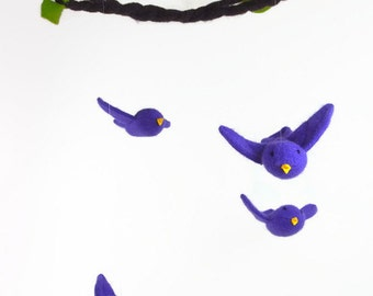bird mobile, waldorf decor, nursery mobile, woodland mobile, purple martin, waldorf toy,
