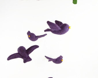 bird mobile, nursery mobile, baby mobile, waldorf mobile, shower gift, nursery decor, waldorf birds,