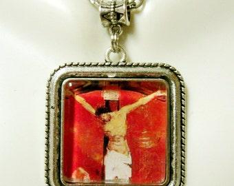 Red Crucifixion pendant and chain - AP05-147