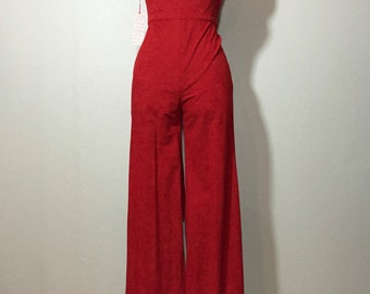 Vintage 70's Burnt Orange Microsuede High Waist Wide Leg Romper Jumpsuit XS