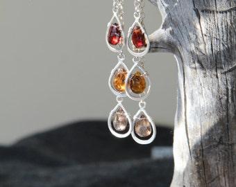 Tourmaline Long Earrings - Gemstone Earrings - Gold 18K Triple Earrings - Triple Drop Earrings - Tourmaline Petroleum Petro Earrings