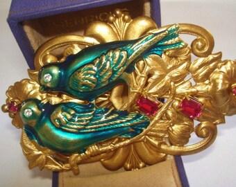 Pr Love Birds  Brooch  Crystal Stones KL Design