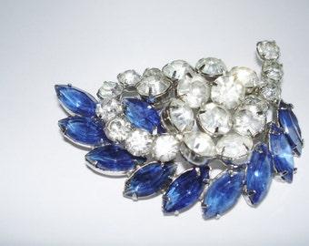 Weiss Clear Royal Blue  Rhinestone Brooch Silver Tone