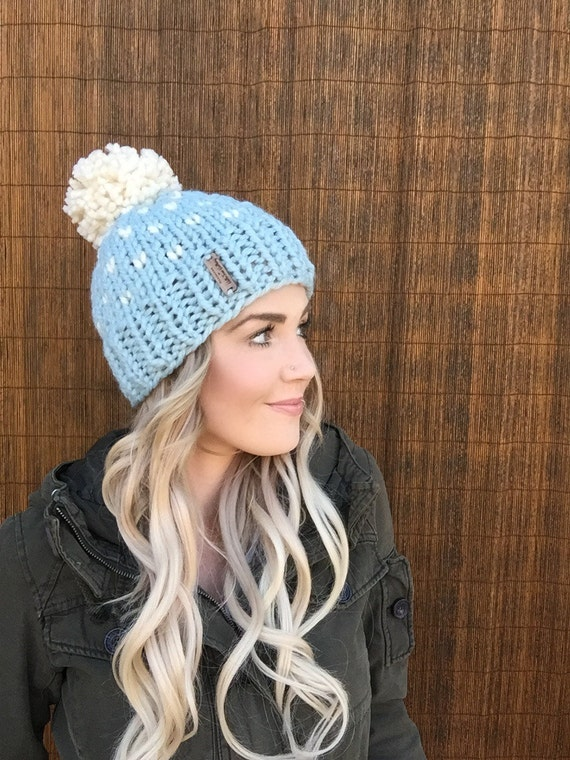 Glacier Blue Fair Isle Pom Pom Wool Hat Hair Fisherman Cream