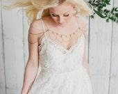 RESERVED FOR REI95 SILVER boho, bohemian shoulder necklace, gold crystal pearl wedding shoulder chain, shoulder chain necklace