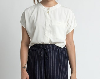 Vintage 90s White Minimal One Pocket Short Sleeve Blouse | M