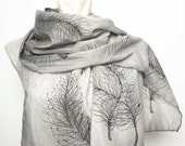 Mother Day Winter Fashion Elegant Hand Painted Silk  Cotton  Scarf with Black and Grey Falling Feathers size 17 X 53 .