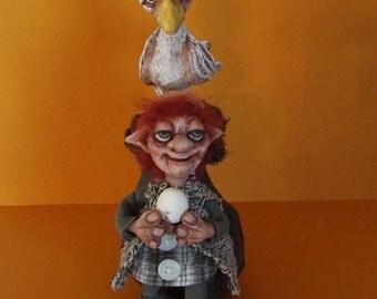 Troll Art Doll and Chicken Caught OOAK Original Handmade