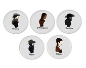 The Musketeers Pinback Buttons Magnet Button Sets TV Alexandre Dumas The Three Musketeers Athos Porthos d'Artagnan Aramis Milady de Winter