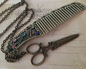 Scissors and Comb Long Necklace - Hair Stylist gift, Brass Scissors Necklace, Seamstress Gift, Gift For Her, Hairstylist Gift, Long Necklace