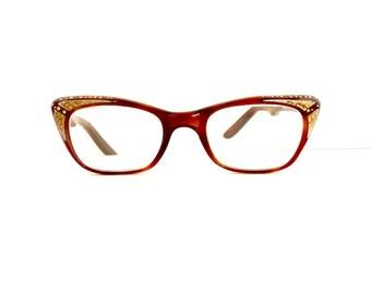 Vintage 1950s Brow Line Cats 50s Cateye Eyeglasses Frames Women's Vintage 1950's Brown with Jewels Frames  #M276 DIVINE