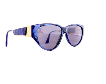 Essence Brand Sunglasses Model Saphire Women's Vintage 1990's Purple Marbled Pattern with Gold Detail Frames Made in Italy #M375 DIVINE