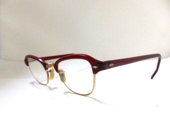 1940s 1950s  Eyeglasses // 40s 50s Vintage Frames // Amber colour // Gold Filled //  Imperial brand