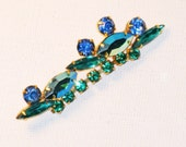 Vintage Blue and Green Rhinestone Brooch Pin (B-4-5)