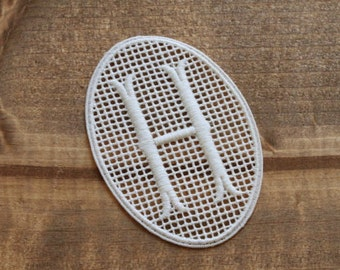 H motif monogram applique motifs embroidery labels hand embroidery craft supplies sewing tag laundry mark washing label antique vintage shop