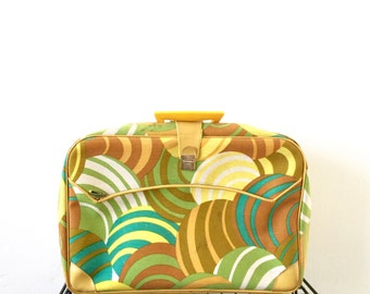 Vintage 1960s Mod Psychedelic Small Suitcase Yellow Carry-on Bag Op Art