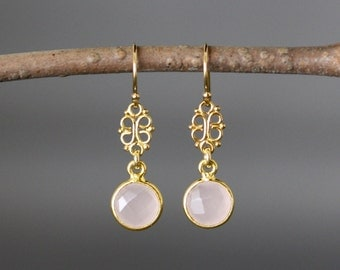 Rose Quartz Earrings - Gold Vermeil Earrings - Gold Bezel Earrings - Pink Gemstone Earrings - Pink and Gold Earrings - Jewelry Gift for Her