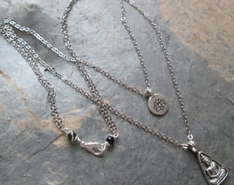 Lotus & Buddha Charm Necklace ~ Double Strand Chain Charm Necklace - Spiritual Jewelry