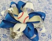 Blue, Siver and White Hair Bow,  Baseball Hairbow, Girls Hair Bow,  Unique Hair Bow, Clip, Barrette,  Spring Hair Bow, Glitter Hair Bow