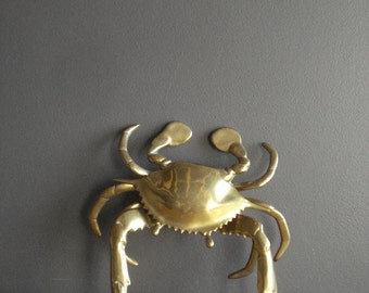 Crabby Brass - HUGE Vintage Brass Crab Incense Holder, Ashtray, or Paperweight - Hinged Crab Box