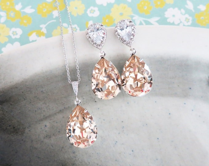 Sandra- Light Silk Swarovski Crystal Teardrop Cubic Zirconia Teardrop Earrings Necklace Set, Bridesmaid Bridal Jewelry Wedding, champange